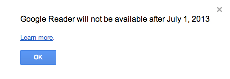 Google Readerが7/1にサービス終了予定を告知