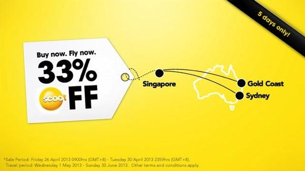 Scoot シンガポール ⇔ オーストラリア線が全クラス 33% OFFになるセールを開催!