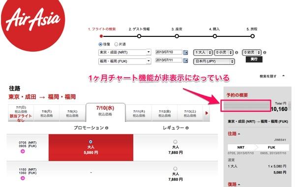 エアアジア:1ヶ月の航空券価格を表示する『1ヶ月チャート』提供を終了か?