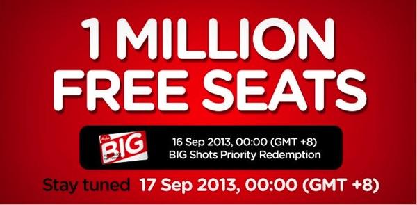 エアアジア:9月17日(火)午前1時からビッグセールを開催!無料座席を100万席販売!