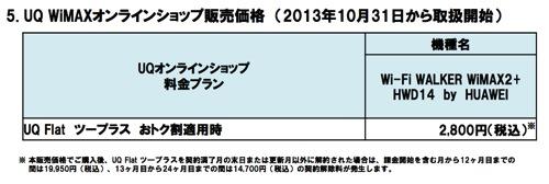 UQオンラインショップでのHWD14の販売価格
