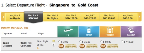 Scoot シンガポール ⇒ ゴールドコースト