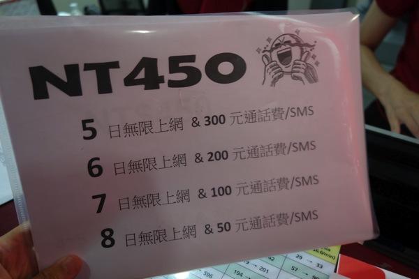 料金プランの例(400台湾ドル)