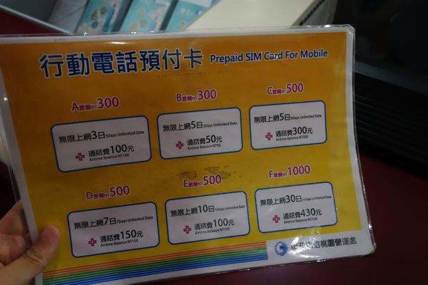 中華電信のプリペイドSIM料金プラン