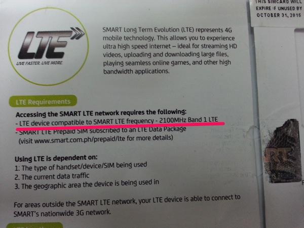 SMARTのLTEは2.1GHz帯(Band 1)で利用可能