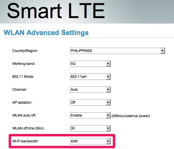 Wi-Fiの帯域を40MHz/20MHzで設定変更可能