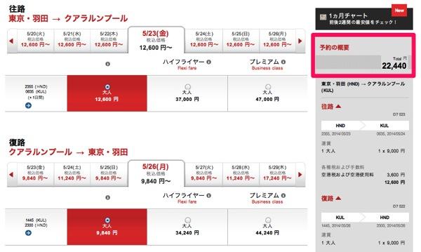 羽田発クアラルンプール往復は22,400円〜