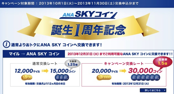 ANA SKY コイン誕生1周年記念 20,000マイル ⇒ 30,000コインになるキャンペーン実施中!
