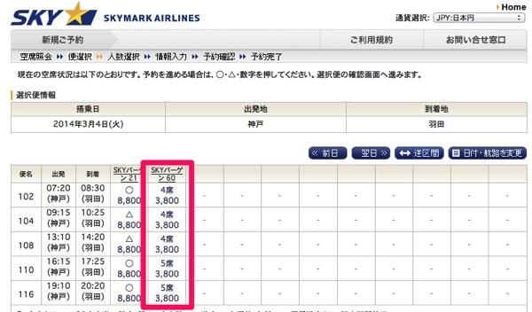 スカイマーク 神戸 ⇛ 羽田 3,800円〜