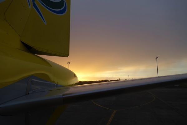搭乗したころに陽が昇りはじめていた