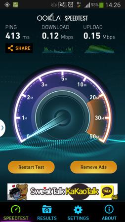非LTE環境でのスピードテスト
