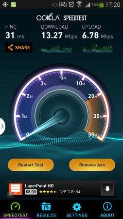 下り通信速度は10Mbps超えも