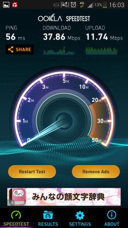 通信速度は最大で下り37.86Mbpsを記録