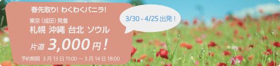 バニラ・エア 成田発着の国内線&国際線の全路線が3,000円/片道になるセールを開催中!