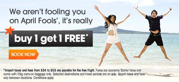 ジェットスター:シンガポール発の国際線で二人目の航空券代が無料になる『Buy 1 get 1 FREE』キャンペーンを開始!4月1日限り