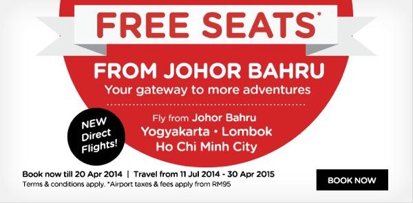 エアアジアがジョホールバルからホーチミン、ロンボク、ジョグジャカルタへ就航!就航記念で無料航空券を販売