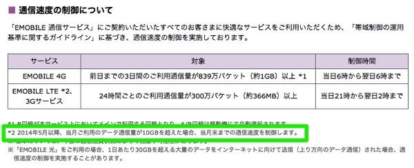 EMOBILE LTE:2014年4月で『容量無制限』を終了 5月以降は通信量を10GB/月に制限開始