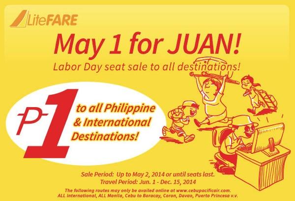 セブ・パシフィック航空 フィリピン国内線1ペソ&国際線が99ペソ(燃油など別)になるセールを開催
