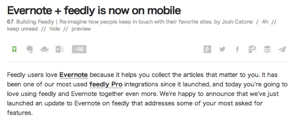 Feedly ProがEvernoteとの連携に対応