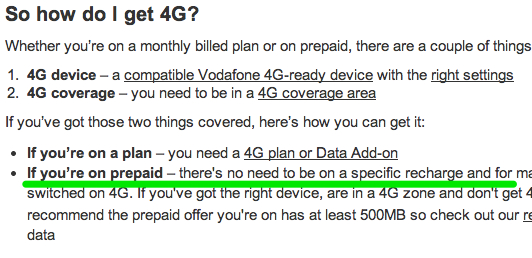 Vodafone Support 4G and LTE