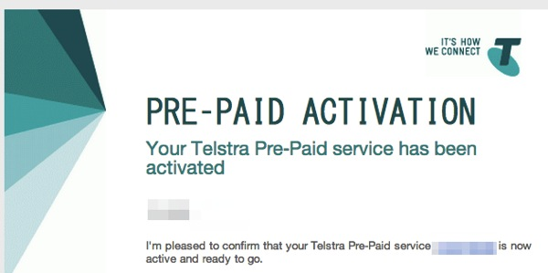 Your Telstra Pre Paid activation is complete