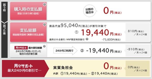 GALAXY Note 3、MNP限定特別割引で本体代一括19,440円に値下がりし『実質0円』に