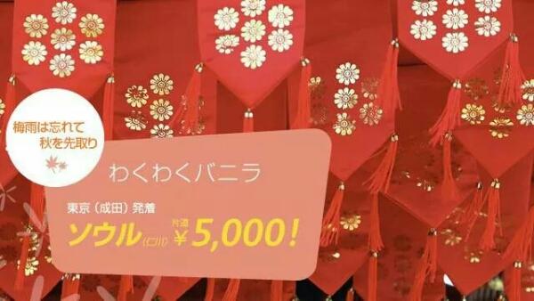バニラ・エア 成田 ~ ソウルが5,000円/片道になるセールを開催