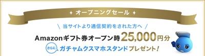 Amazonギフト券25,000円分プレゼント