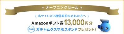 Amazonギフト券13,000円プレゼント