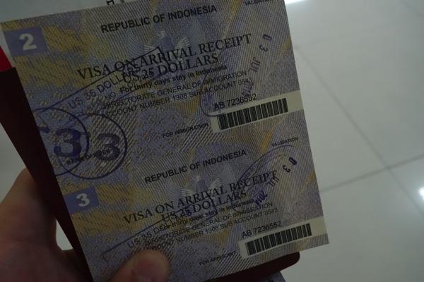 インドネシアのビザ代がUSD 35に値上がりしていた