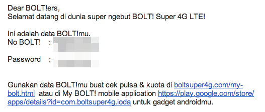 Bolt Aktivasi User