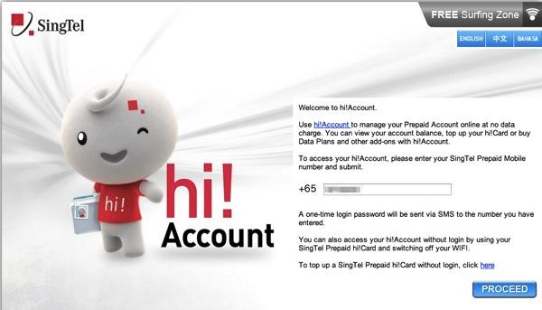 SingTel hi Account
