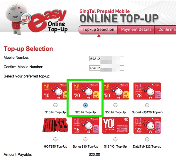 SingTel Prepaid Mobile Online Top up