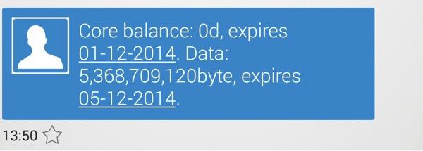 SMSでデータ通信量が通知される