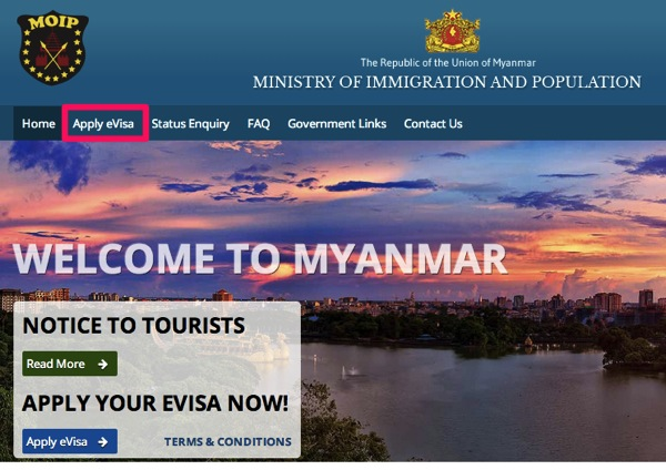 Myanmar eVisa Official Government Website