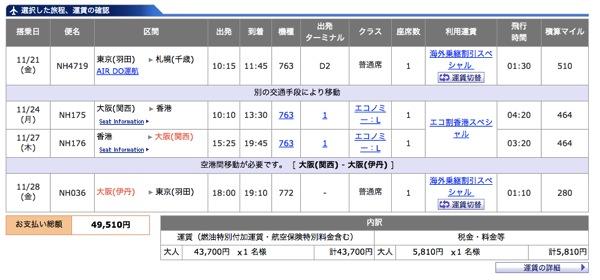 ANA、大阪発『エコ割香港スペシャル』前後に国内線を2区間加えても総額50,000円以下に