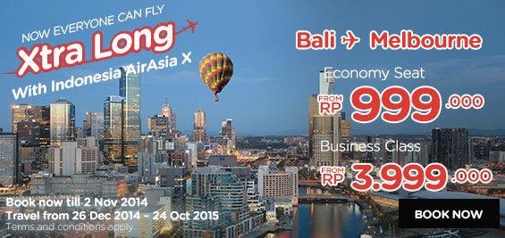 インドネシア・エアアジアXがバリ島 〜 メルボルンに就航を正式発表!セールも開催
