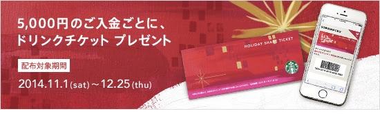 スターバックスカードへの入金5,000円ごとにプレゼントされるドリンクチケット、有効期限は2015年1月末まで