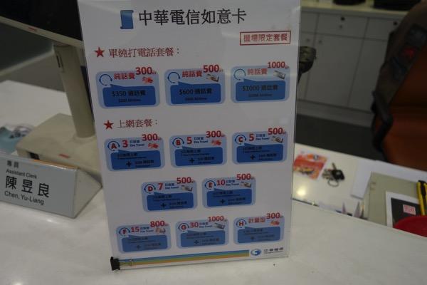 台中中高での中華電信のプリペイドSIM販売価格
