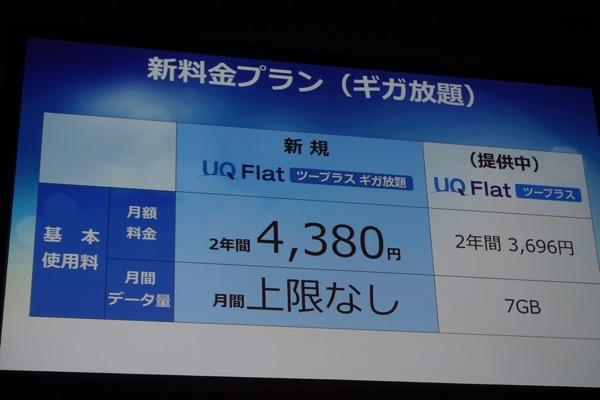 UQ、WiMAX 2+の新料金プランを発表、二年契約で月額4,380円(税別) – 直近3日間 3GBで緩やかな通信速度制限を実施