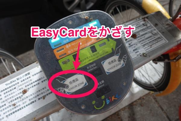 EasyCardをかざすとレンタル開始