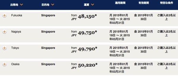 シンガポール航空、二名以上の同時購入でシンガポール往復が燃油込み50,000円以下/一人のセール