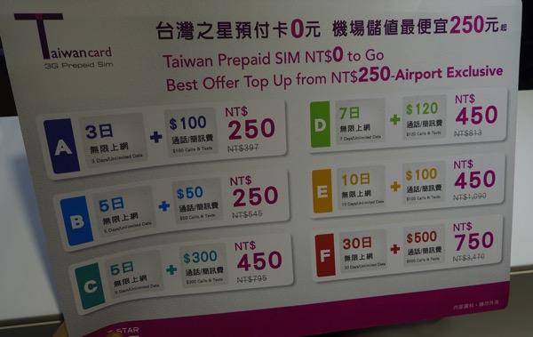 台湾之星のプリペイドSIMカード:料金表