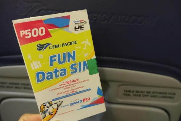 セブ・パシフィック航空の機内販売SIMを購入 – 4G LTE対応、500ペソでデータ通信量1.5GB