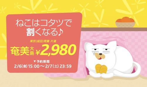 バニラエア、成田 〜 奄美大島が片道2,980円になるセール!搭乗期間は4月1日 〜 5月末