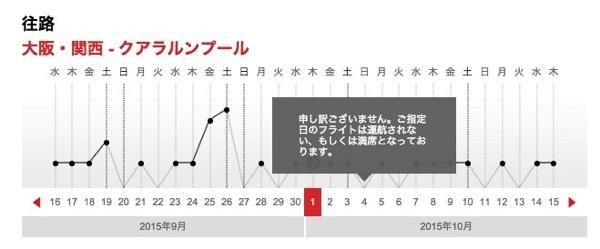 エアアジアX:関空 〜 クアラルンプールを2015年9月〜11月の間減便か