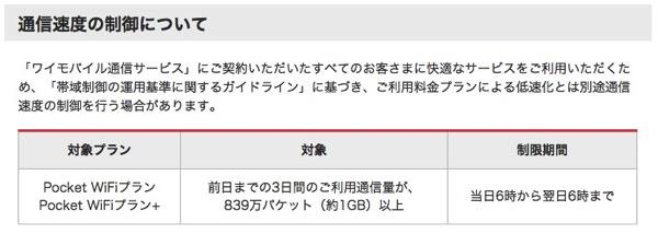 ワイモバイル、305ZTの「直近3日間」の速度制限は発売当時から発表されていた