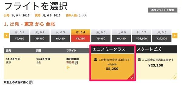 成田 → 台北は片道5,250円