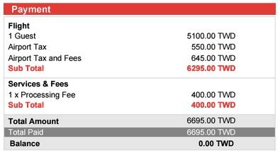 支払総額は6,695台湾ドル(約2.5万円)
