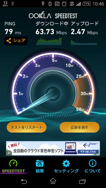 W01でスピードテスト